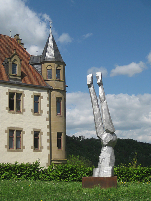 Agnes Keil, female figure, aluminium cast, 2,63m high, 2013